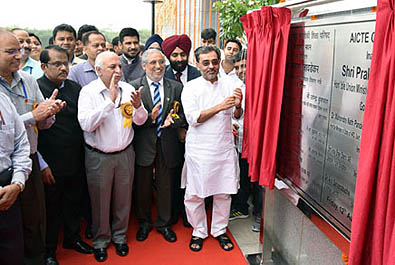 The Minister of State for Human Resource Development, Mr Upendra Kushwaha inaugurating the office complex of All India Council for Technical Education in New Delhi on August 12, 2016.