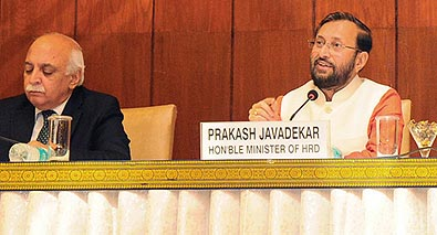 Union Minister for Human Resource Development Prakash Javadekar addressing the media on �Budget 2017-2018 and Education Sector�, in New Delhi on February 05, 2017. He is accompanied by the Secretary, Department of Higher Education V.S. Oberoi.